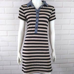 Monteau Size Medium Dress Beige Striped Chambray